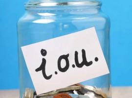 IOU jar debt coin save saving money