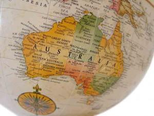 Australia globe map