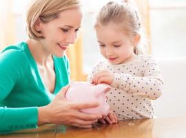 kids money learn teach coin child lesson school piggy bank mum mother parent