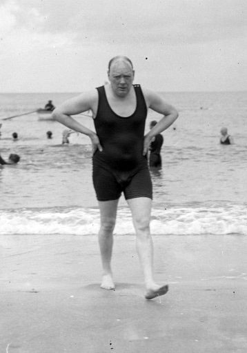 10. Winston Churchill out for a swim