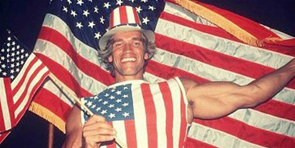 34. Arnold Schwarzenegger on the day he received his American citizenship