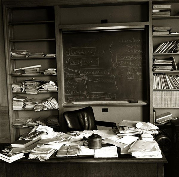 37. Albert Einstein's office photographed on the day of his death