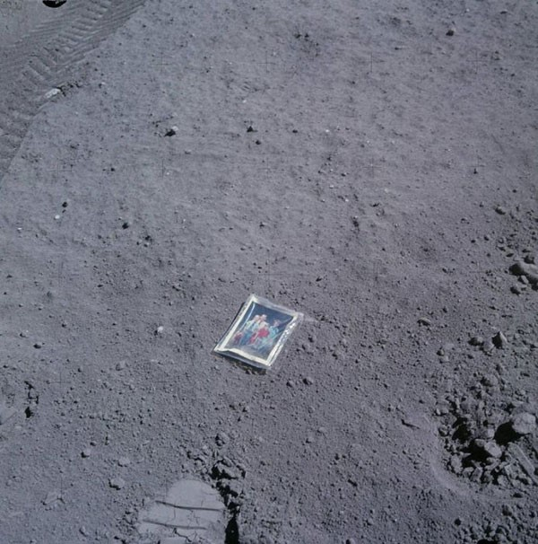 48. Apollo 16 astronaut Charles Duke left this family photo behind on the moon in 1972.