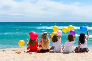 kids happy joy beach summer sun child balloon family fun