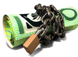 Rolled Up And Shackled Australian Dollar Notes Standing