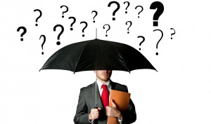 question uncertain fear help guide business man umbrella