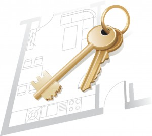 892552 - house keys on a home blueprint. vector illustration