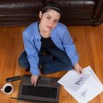 housemate woman computer work read coffee