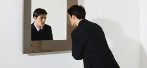 businessman mirror reflection