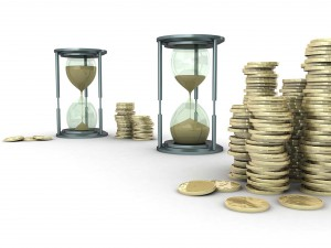 time money spend hourglass coin