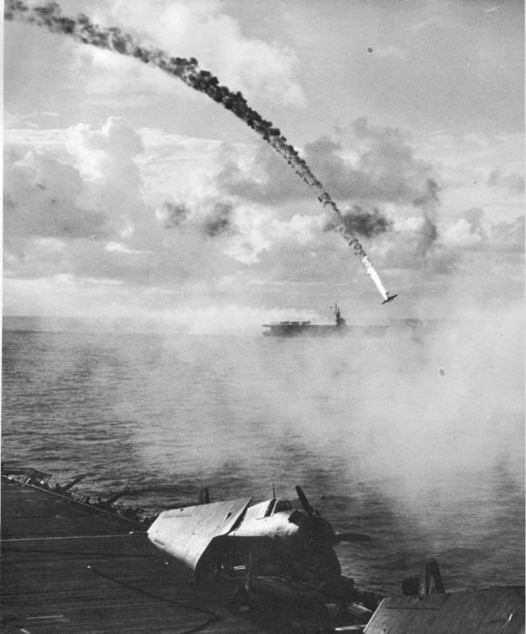 17. A Japanese plane is shot down during the Battle of Saipan in 1944