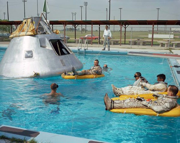 49. The crew of Apollo 1 practicing their water landing in 1966. Unfortunately, all of them were killed
