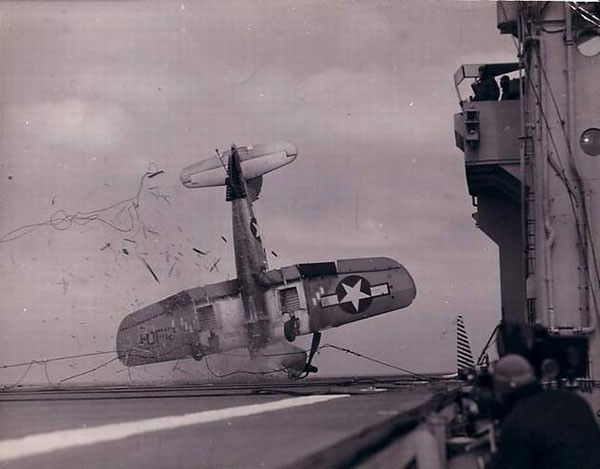 50. An aircraft crash on board during World War II