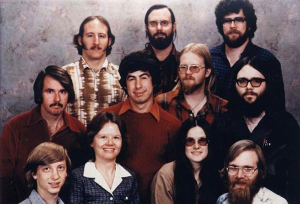 The Microsoft staff in 1978. Bill Gates, front row left