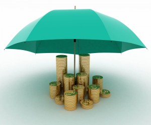 protect-umbrella-portfolio-saving-money-coin-insurance-rainy-day
