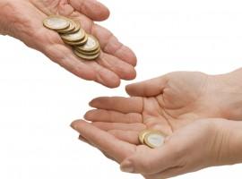 hand beg money parent grandparent kid give money help bank coin share