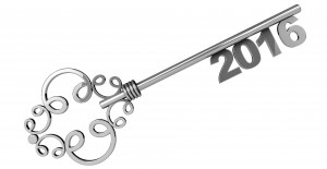 Vintage Key with 2016 year Sign