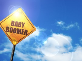 54935520 - baby boomer: yellow road sign with a blue sky and white clouds