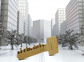 key with buildings