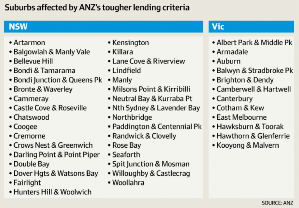 Suburbs affected by ANZ's tougher lending criteria