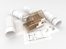 design and construction of wooden house - architects technical drawings and design