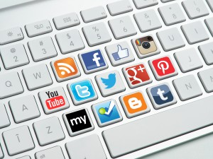 Social media buttons on keyboard