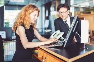 Bank receptionist helping customer businessman _x x