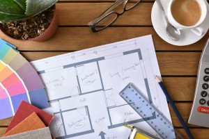 Table With Plan Tools And Samples Of A Decorator Top