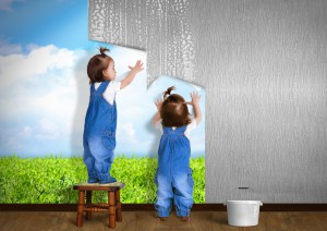 Little Twins Doing Repair At Home, Hanging Wallpaper