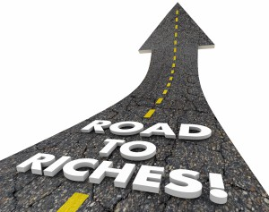 Road To Riches Wealth Income Money Easy Street Words 3d Illustra