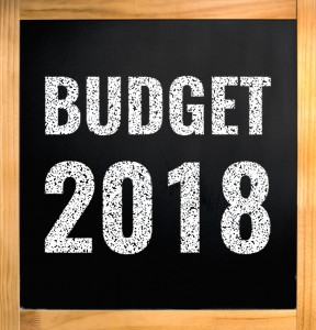 Budget 2018, Chalk Text On Black Board With Wooden Frame