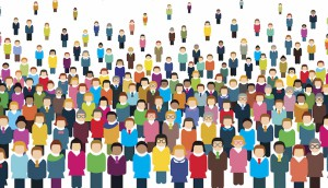 Large Group Of Stylized People.