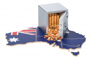Safe Box With Golden Coins On The Map Of Australia, 3d Rendering