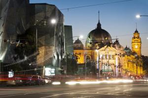 Flinders Station View From Flinders Street Melbourne Australia