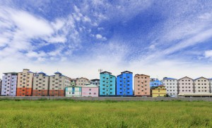 Row Of Houses And Apartments And Sky