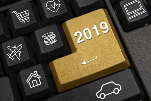 Computer Keyboard And 2019 New Year's Wish Concept