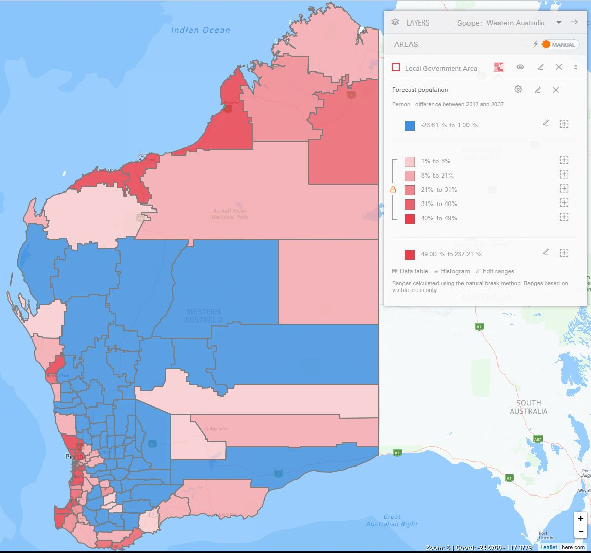 Population change, Local Government Areas in Western Australia, 2017-2037